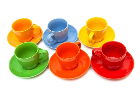set coffee cups on a white background photo