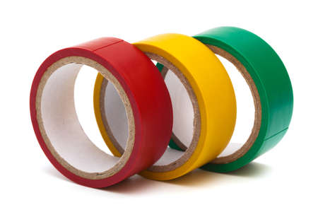 three electrical tape on white background photo