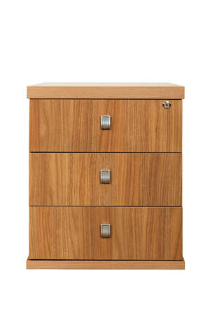 wooden desk cupboard on a white background photo
