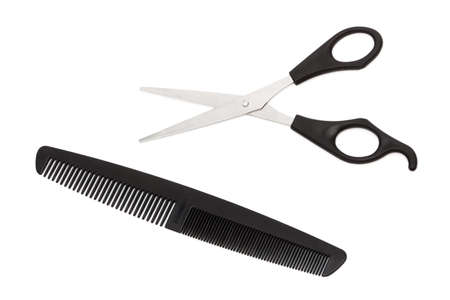 clippers comb: scissors and comb on a white background