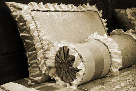 beautiful silk cushions on the beds of modern photo