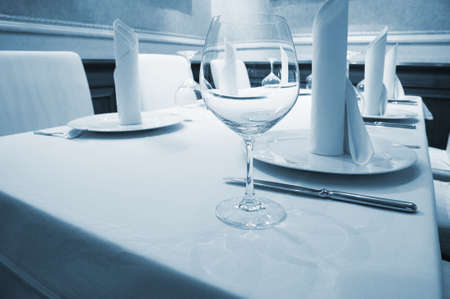 Beautiful glass on a table at restaurant photo
