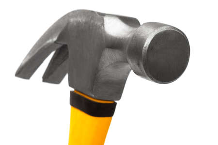 hammer with the yellow handle on a white background photo