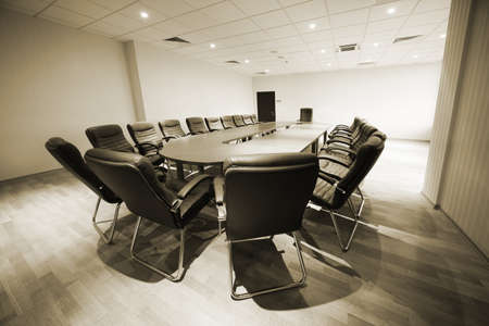 large table and chairs in a modern conference room photo