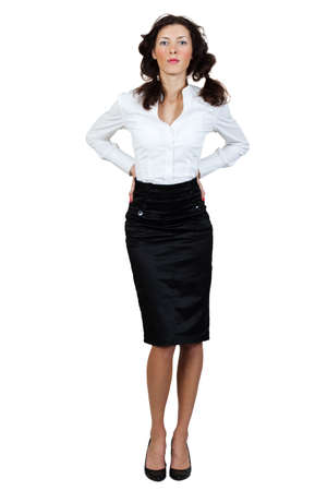 girl in a blouse and skirt on a white background photo