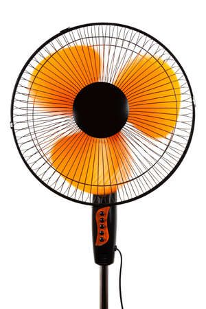 electric grid: modern orange fan on a white background Stock Photo