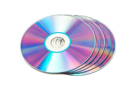 dvd disks on a white background photo