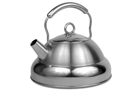 kettles: Tetera metal moderno sobre un fondo blanco