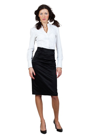blouse sexy: businesswoman in a blouse and skirt on a white background