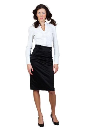 blusa: Empresaria en una blusa y falda sobre un fondo blanco