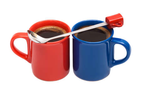 red end blue mugs from coffee on a white background photo