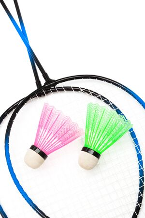 racket and shuttlecock badminton on a white background photo