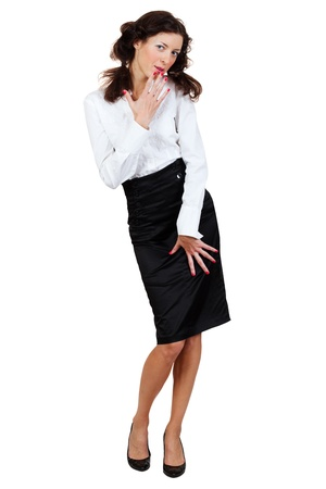 businesswoman in a blouse and skirt on a white background Stock Photo - 9596105