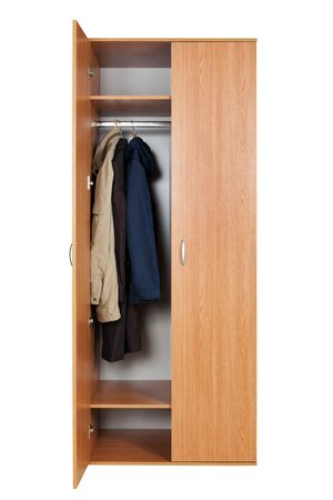 modern wardrobe with clothes on a white background photo