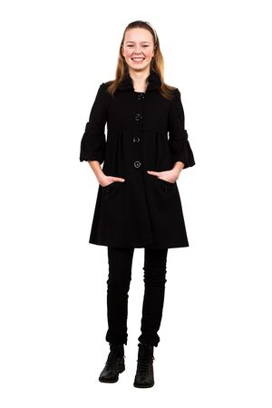 girl in a black coat over a white background Stock Photo - 9655334