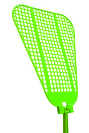 flap: green fly swatter on a white background