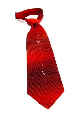 scarlet striped necktie on a white background photo