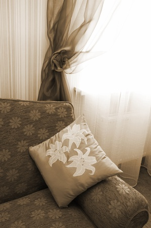 pillow with an ornament on a new sofa Stock Photo - 10621157