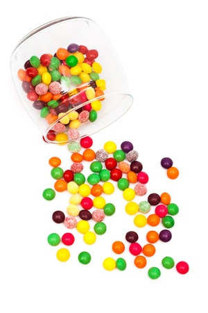 jellybean: Candy in a glass jar on white background