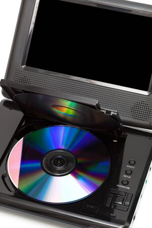 TV with a dvd disk on a white background photo