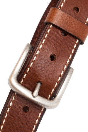 buckle leather belt on a white background Stock Photo - 10816350