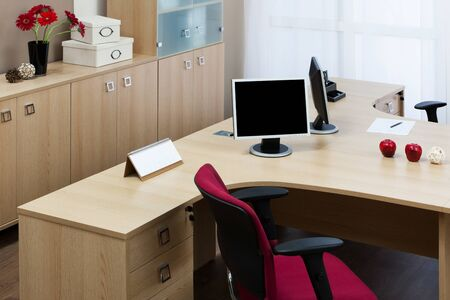 The monitor on a desk at modern office Stock Photo - 10966288