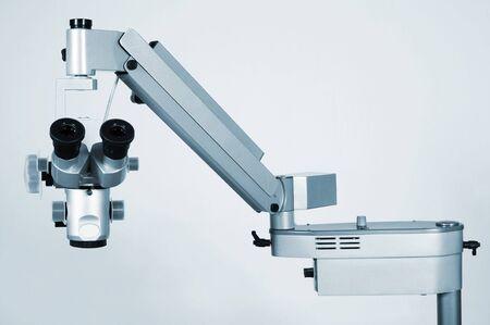 researches: Microscopio nuovo e moderno per ricerche mediche Archivio Fotografico