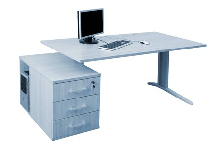 desk and a modern computer on a white background photo