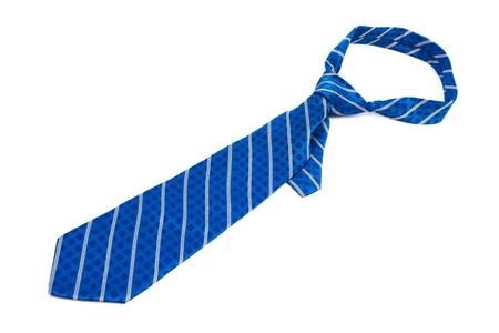 silk tie: blue striped necktie on a white background Stock Photo