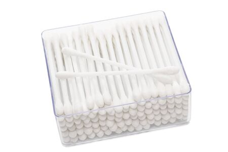 aural: cotton buds in box on a white background