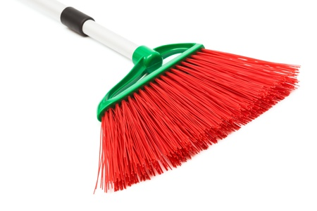 mops: red and modern broom on white background