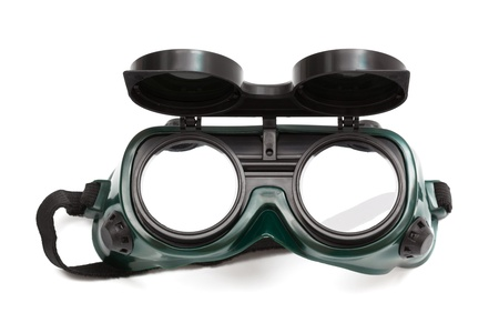 goggles for welding on a white background