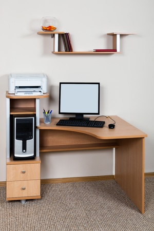 computer and printer on the desk in the office Stock Photo - 13190588