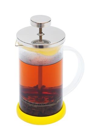 teapot brewed tea on a white background photo