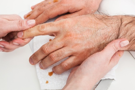 male massage hands in the manicure room photo