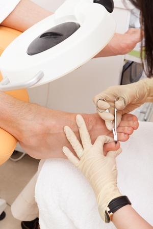 pedicure foot in a modern beauty salon Stock Photo