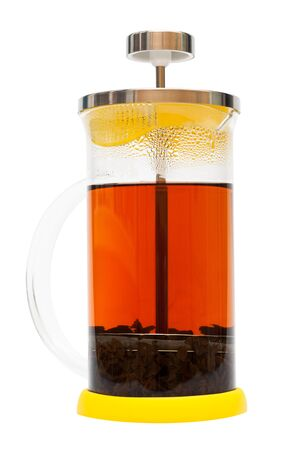 french press with tea on a white background photo
