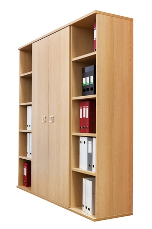 bookcase with folders on a white background