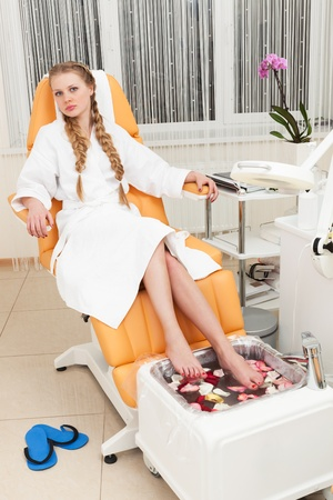 beautiful girl in a modern beauty salon photo