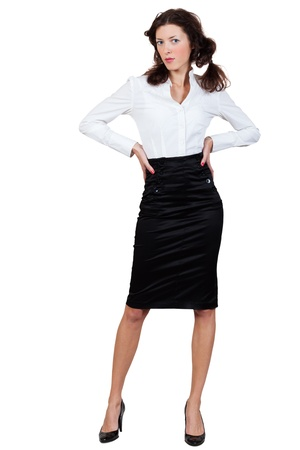 businesswoman in a blouse and skirt on a white background photo