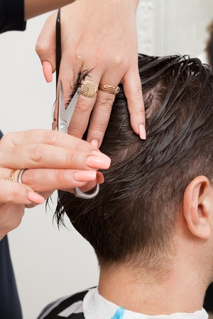 hairdresser parlor: trendy haircut in the barber shop today Stock Photo