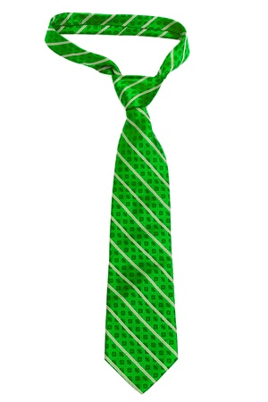 elastic garments: green striped necktie on a white background
