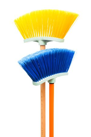 cleaning tools: blue and yellow brush the floor on a white background Stock Photo