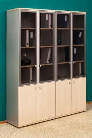 bookcase with folders in a modern office photo