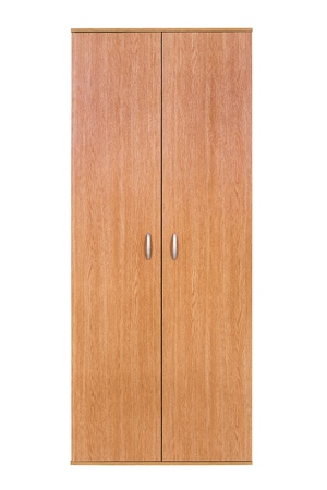 modern wooden wardrobe on a white background photo
