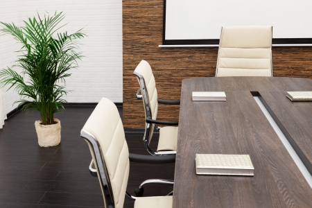 a large table and chairs in a modern conference room Stock Photo - 15499054