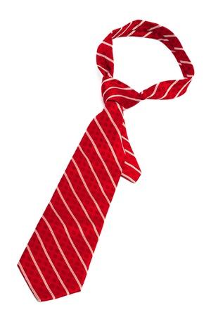 neckties: corbata roja a rayas sobre un fondo blanco Foto de archivo