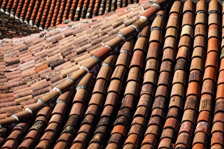 rooftiles: beautiful tiled roofs in the city Stock Photo