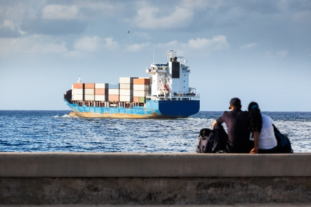 cargo ship and its escorts lovers photo