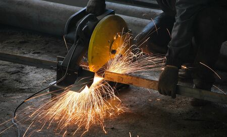 Cutting metal on modern plant Stock Photo - 18181518